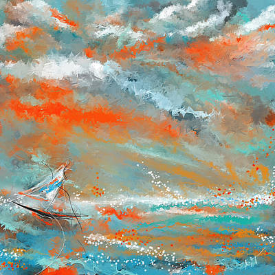 Turquoise Sail - Orange And Turquoise Abstract Art Poster by Lourry Legarde