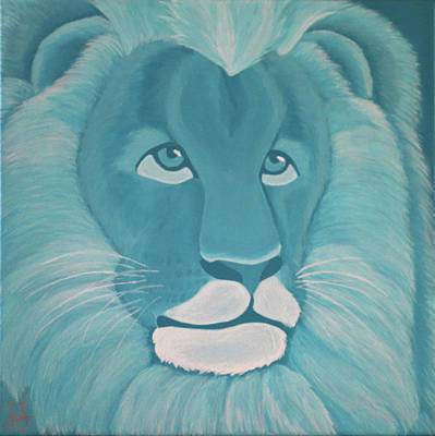 Turquoise Lion Poster