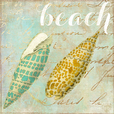 Turquoise Sea Shells Poster