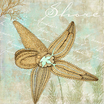 Turquoise Sea Starfish Poster