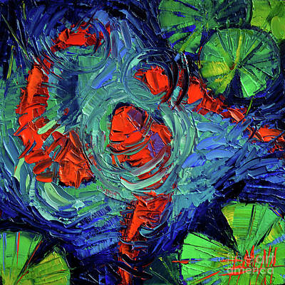 Turquoise Swirls Poster by Mona Edulesco