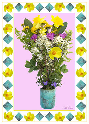Poster featuring the digital art Turquoise Vase With Spring Bouquet by Lise Winne
