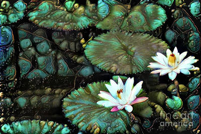 Turquoise Waterlilies 1 Poster