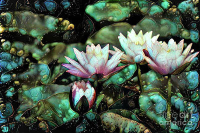 Turquoise Waterlilies 6 Poster