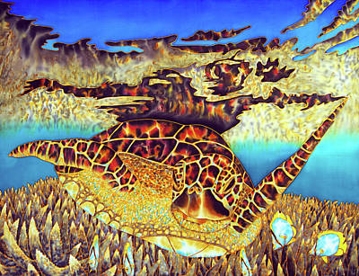 Caribbean Sea Turtle And Stag Horn Coral Poster