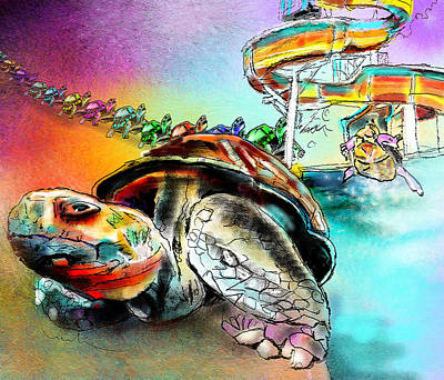 Turtle Slide Poster by Miki De Goodaboom