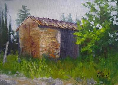 Poster featuring the painting Tuscan Abandoned Farm Shed by Chris Hobel