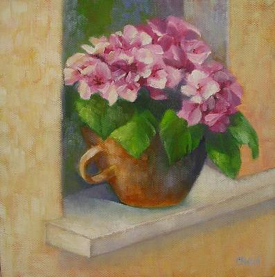 Poster featuring the painting Tuscan Flower Pot Oil Painting by Chris Hobel