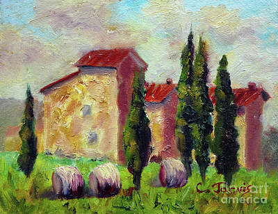 Tuscan House With Hay Poster