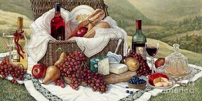 Tuscan Picnic  Poster by Janet  Kruskamp
