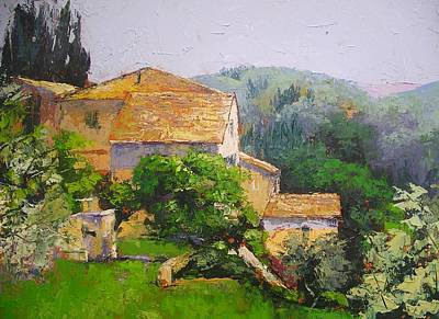Poster featuring the painting Tuscan Village by Chris Hobel