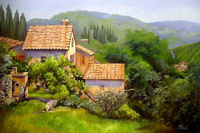 Poster featuring the painting Tuscan Village Memories by Chris Hobel