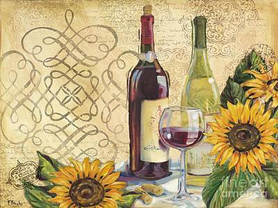Tuscan Wine And Sunflowers Poster
