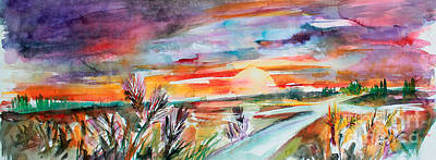 Poster featuring the painting Tuscany Landscape Autumn Sunset Fields Of Rye by Ginette Callaway