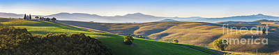 Tuscany Landscape Panorama At Sunrise With A Chapel Of Madonna Di Vitaleta Poster by Michal Bednarek