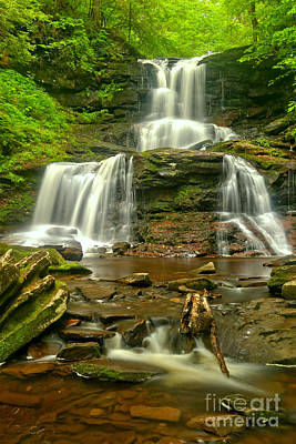 Tuscaroa Cascading Through Ganoga Glen Poster by Adam Jewell