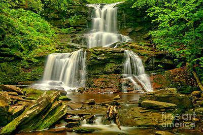 Tuscarora Cascading Over The Rocks Poster by Adam Jewell