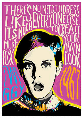 Twiggy Pop Art Portrait Poster