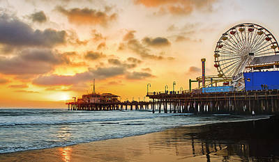 Twilight And Reflections At Santa Monica Pier California  Poster