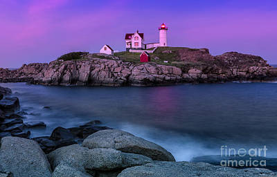 Twilight At Nubble Lighthouse Poster by Jerry Fornarotto
