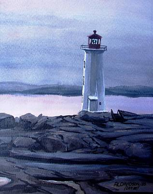 Poster featuring the painting Twilight At Peggy's Cove by Patricia L Davidson