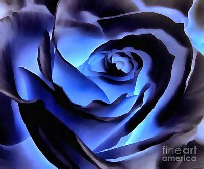 Twilight Blue Rose  Poster