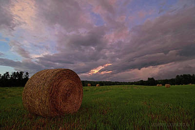 Twilight Hay Bale Poster by Jerry LoFaro