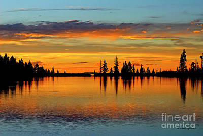 Twilight Lake Reflections In Colorado Poster