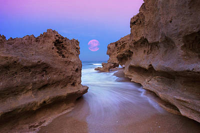 Twilight Moon Rising Over Hutchinson Island Beach Rocks Poster