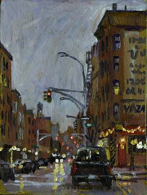 Twilight On 7th And Avenue B Vazac Bar Nyc Poster by Thor Wickstrom