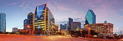 Twilight Panorama Of Downtown Dallas Skyline - North Akard Street Dallas Texas Poster by Silvio Ligutti