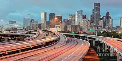 Twilight Panorama Of Downtown Houston And Freeways - Texas Gulf Coast Poster