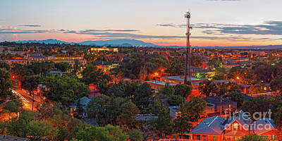 Twilight Panorama Of Downtown Santa Fe From Cross Of The Martyrs - New Mexico  Poster