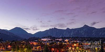 Twilight Panorama Of Estes Park, Stanley Hotel, Castle Mountain And Lumpy Ridge - Rocky Mountains  Poster by Silvio Ligutti
