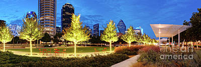 Twilight Panorama Of Klyde Warren Park And Downtown Dallas Skyline - North Texas Poster by Silvio Ligutti