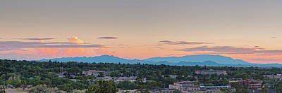 Twilight Panorama Of Santa Fe Cityscape With Sandia Mountains In The Background - New Mexico  Poster