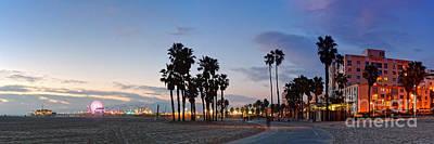 Twilight Panorama Of Santa Monica Pier And Oceanfront Walk - Los Angeles California Poster by Silvio Ligutti