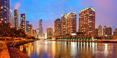 Twilight Panorama Of The Chicago River From Lake Shore Drive - Chicago Riverwalk Illinois Poster by Silvio Ligutti