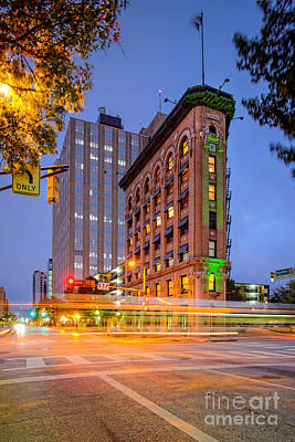 Twilight Photograph Of The Flatiron Building In Downtown Fort Worth - Texas Poster by Silvio Ligutti
