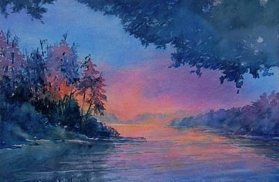 Twilight Time No 4 Eagle Lake Poster by Virgil Carter