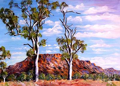 Twin Ghost Gums Of Central Australia Poster