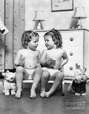 Twin Girls Sitting In A Double Seat Poster