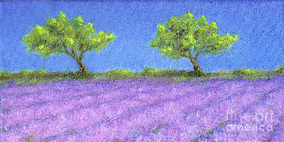 Twin Oaks And Lavender Poster by Jerome Stumphauzer