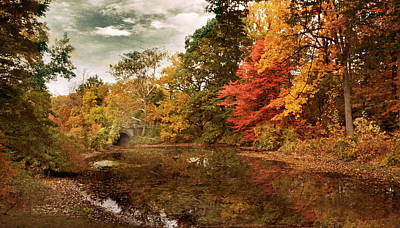 Twin Pond Autumn Poster