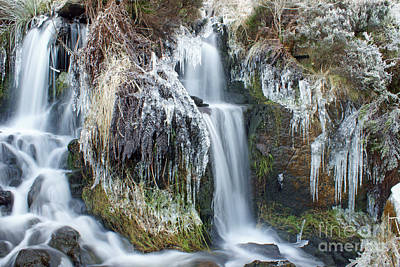 Twin Winter Waterfalls Poster