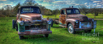 Almost Twins 1952 Chevrolet 1952 Gmc Flatbed Truck Art Poster by Reid Callaway