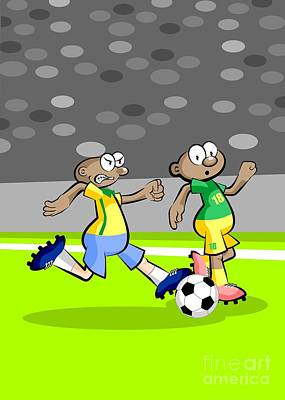 Two African Soccer Players Run In The Middle Of The Stadium Poster