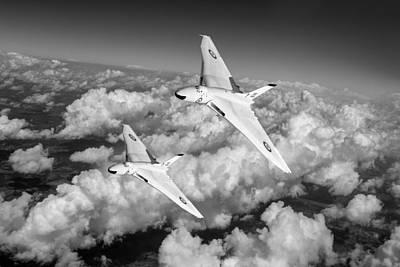 Poster featuring the photograph Two Avro Vulcan B1 Nuclear Bombers Bw Version by Gary Eason