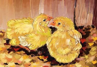 Two Baby Cornish Chicks Poster by Debra Baldwin