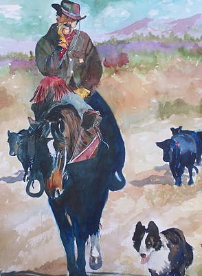 Poster featuring the painting Two Bad Cowdogs by P Maure Bausch